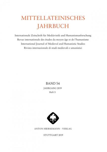 Mittellateinisches Jahrbuch Band 54 Heft 3